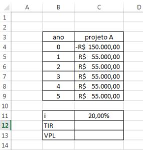 TIR e VPl no Excel