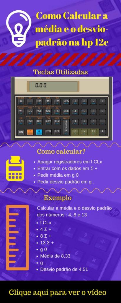 infográfico como calcular a média e o desvio padrào na calculadora financeira Hp 12c