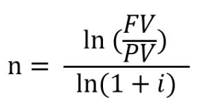 fórmula para calcular o tempo usando logaritmo natural