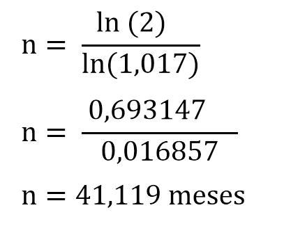 formula calcular tempo aplicacao ln exemplo
