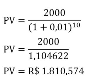 Exemplo de cálculo do valor presente