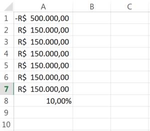 calcular VPL no Excel passo 3