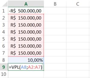 cálculo do valor presente das entradas de caixa no excel