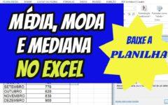 Como calcular a média, a moda e a mediana do consumo de energia elétrica no Excel