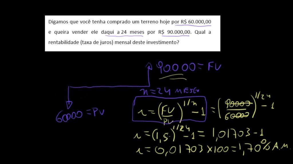 resolução de problema de matemática financeira - cálculo da taxa de juros como fórmula