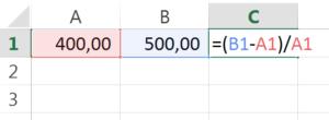 calcular porcentagem no excel passo 2
