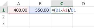 formula para calcular a porcentagem de desconto no excel