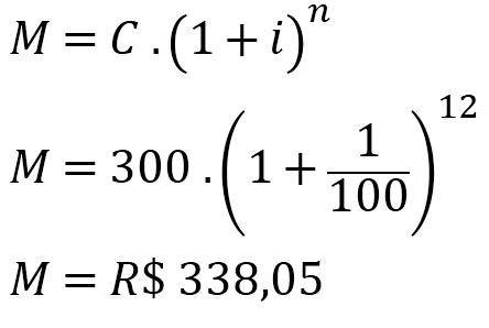 Exercício de juros compostos para o cálculo do montante com fórmula