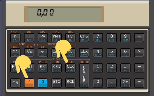 Teclas para apagar registradores na calculadora hp-12c