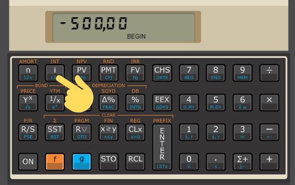 tecla na hp=12c para calcular a taxa efetiva